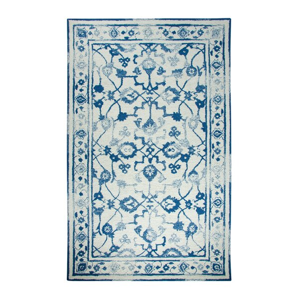 Montoya Ivory/Dark Blue Area Rug by Bungalow Rose