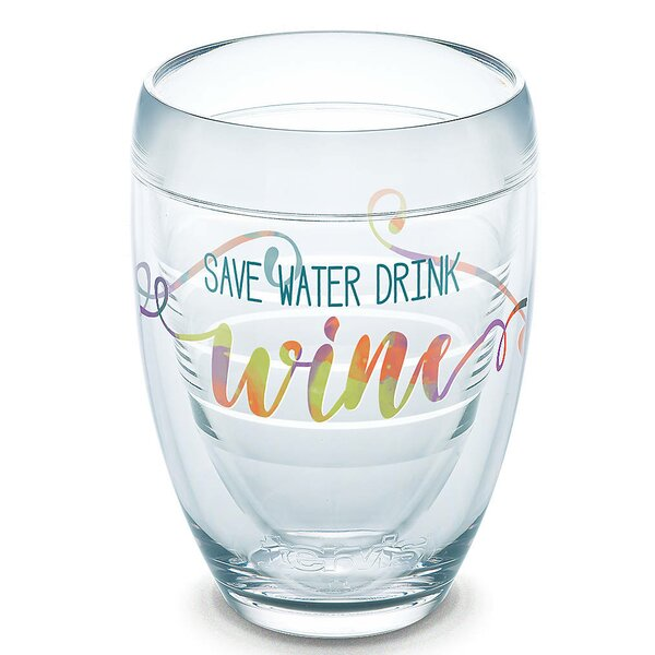 Eat Drink Be Merry Save Water Drink 9 oz. Stemless Wine Glass by Tervis Tumbler