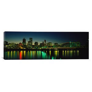 'Buildings Lit Up At Night, Willamette River, Portland, Oregon' Photographic Print on Canvas by East Urban Home