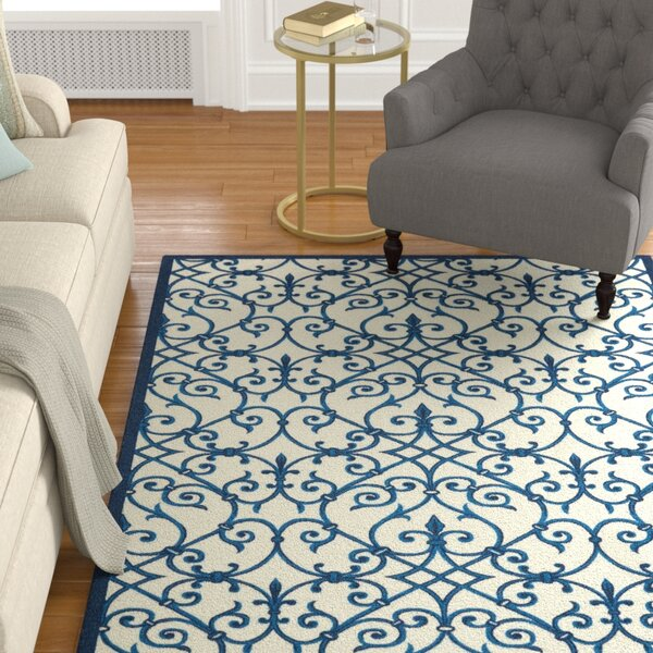 Sigel Abstract Blue/Ivory Indoor / Outdoor Area Rug
