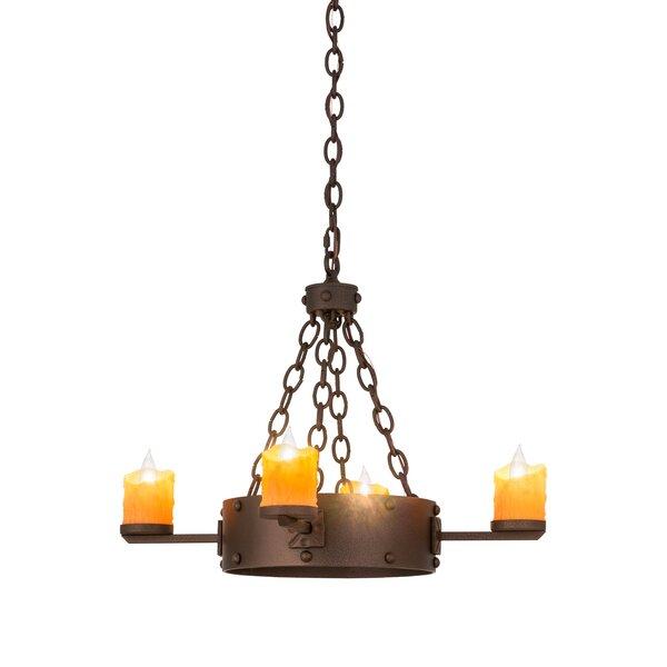 Kingston 4-Light Candle Style Wagon Wheel Chandelier by Meyda Tiffany Meyda Tiffany