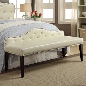 Eugene Contemporary Faux Leather Bench by House of Hampton