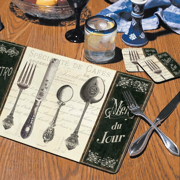 French Menu Hardboard Placemat (Set of 2) by CounterArt