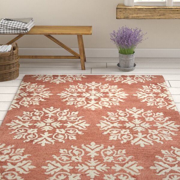 Brodie Hand-Tufted Coral/Ivory Area Rug by Ophelia & Co.