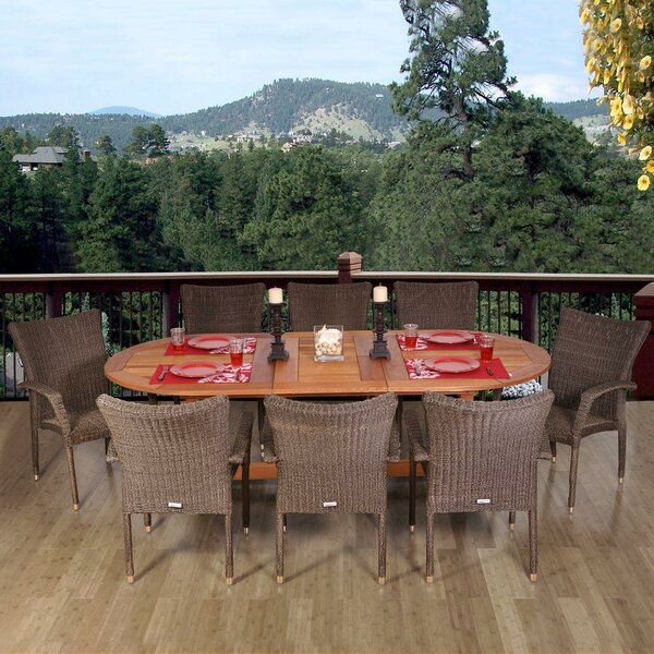 Pierre Eucalyptus Extendable 9 Piece Dining Set by Bayou Breeze