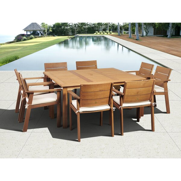 Alpena International Home Outdoor 9 Piece Dining Set with Cushions by Bay Isle Home
