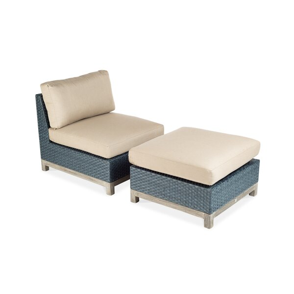Angelica Outdoor Teak Ottoman with Sunbrella Cushion by Longshore Tides