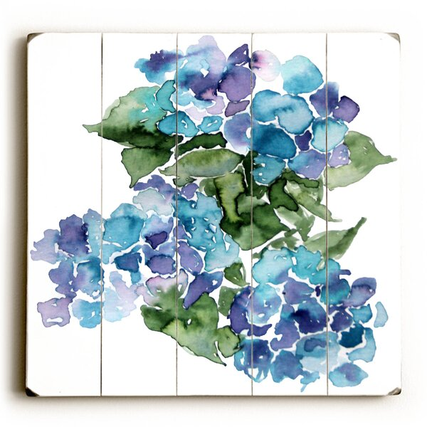 Blue Hydrangeas Painting Print Plaque by August Grove