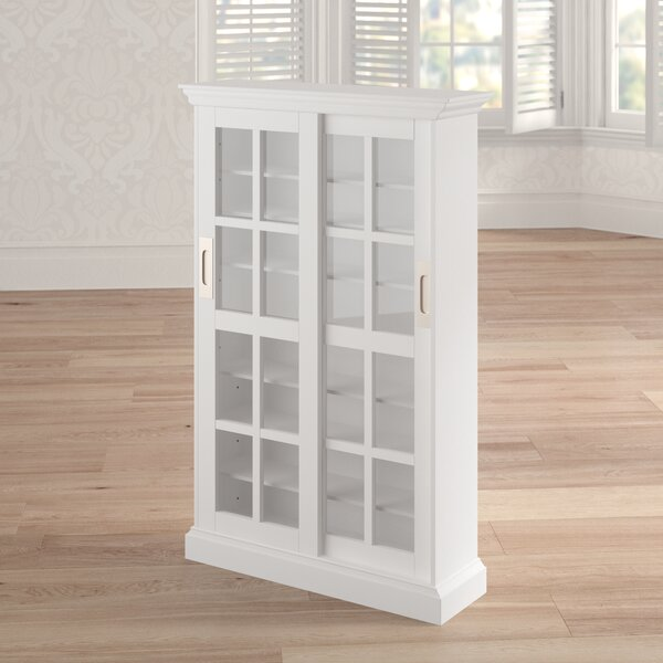 Sliding Door Multimedia Cabinet in White by Laurel