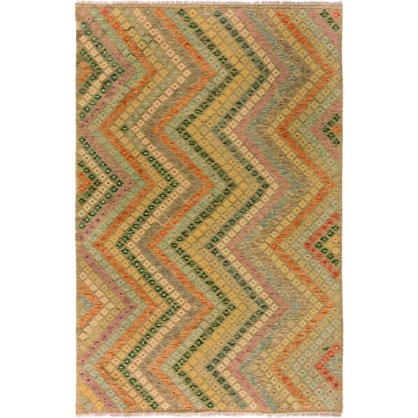One-of-a-Kind Bakerstown Kilim Hand-Woven Wool Gray/Teal Area Rug by Bloomsbury Market