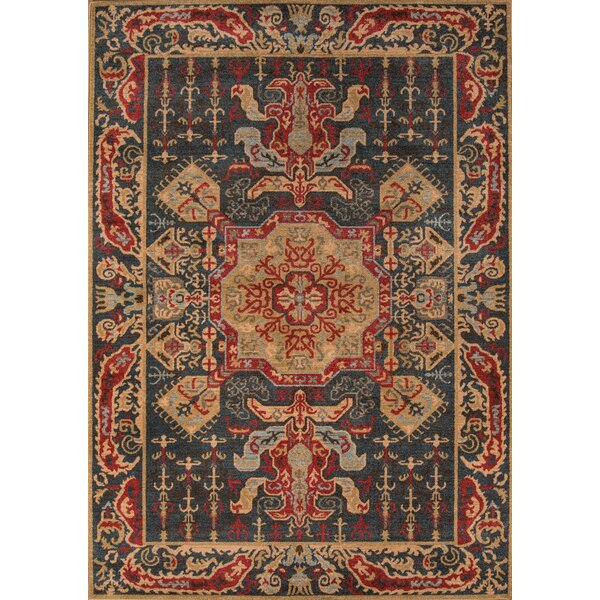 Miller Navy/Red Area Rug by Charlton Home