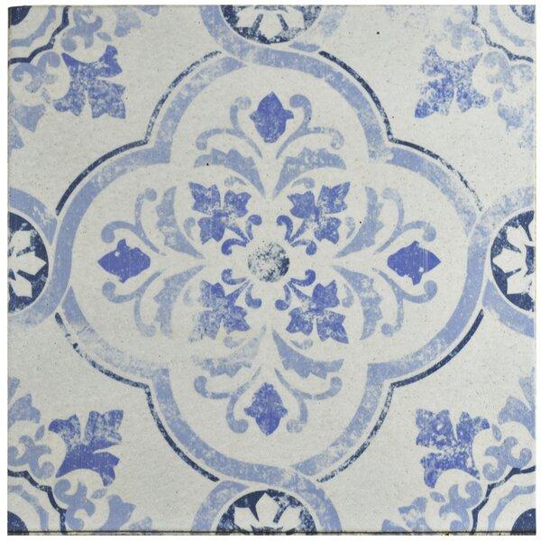 Shale 12.75 x 12.75 Ceramic Field Tile in White/Bl