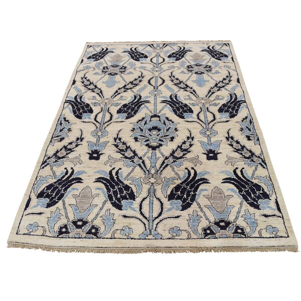 One-of-a-Kind Bagby Overdyed Burnt Worn Hand-Knotted Ivory/Blue Area Rug by Isabelline