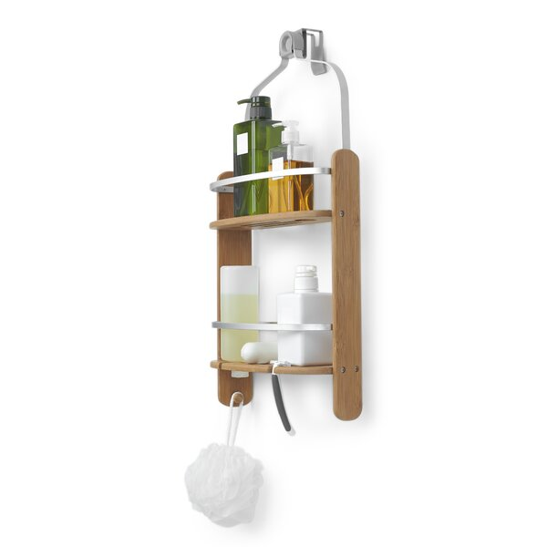 Barrel Wood Hanging Shower Caddy by Umbra