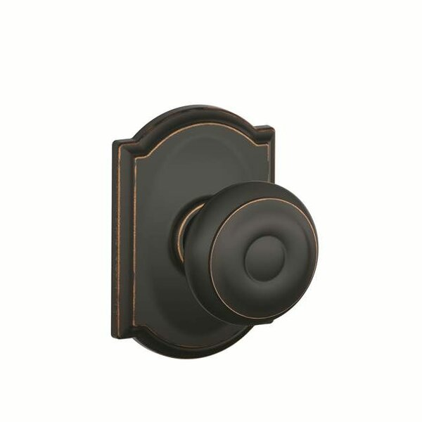 Interior Non-Turning Georgian Knob and Interior Inactive Deadbolt Thumbturn with Camelot Trim by Schlage