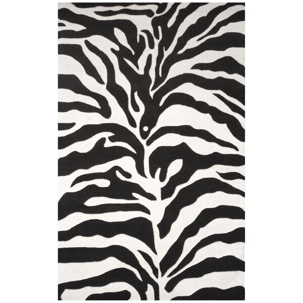 Hand-Tufted Ivory/Black Area Rug by Herat Oriental