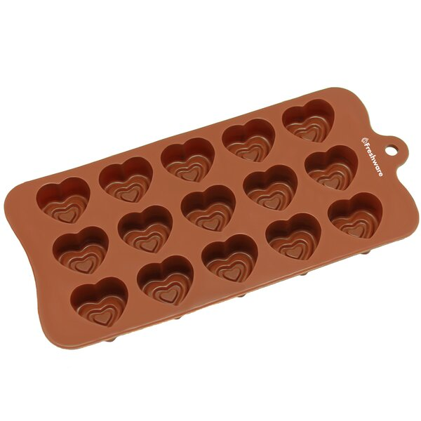 15 Cavity Valentine Double Heart Silicone Mold Pan by Freshware