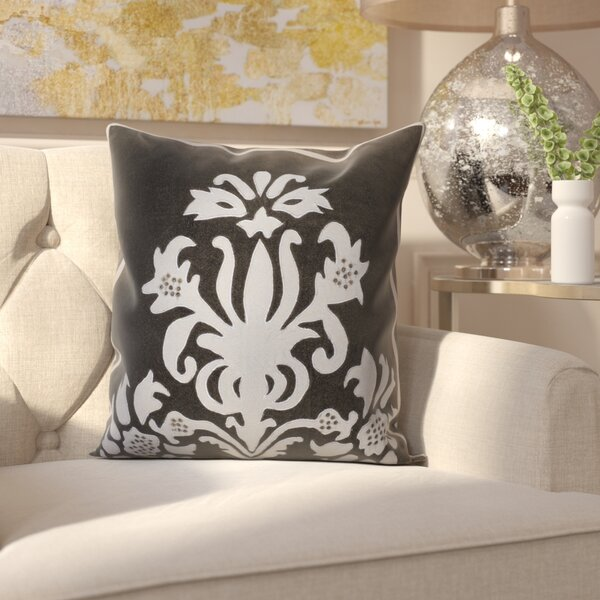 Beamond Damask Throw Pillow by Rosdorf Park