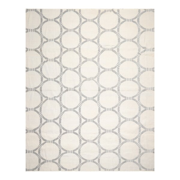 One-of-a-Kind Hand-Knotted White/Gray 9' x 12' Wool Area Rug