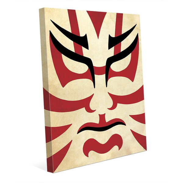 Kumadori Hero in Red Graphic Art on Wrapped Canvas by Click Wall Art