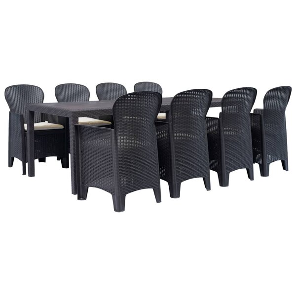 Crayton 9 Piece Dining Set with Cushions by Highland Dunes
