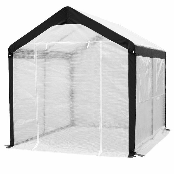 Abba Patio Large Walk in Fully Enclosed Lawn and Garden Greenhouse with Windows, 8 X 10 Ft, White (Set of 3) by Abba Patio