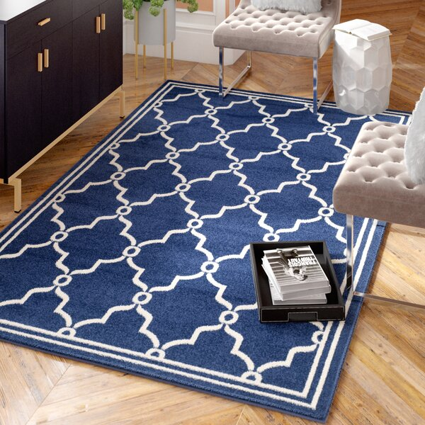 Wason Power Loomed Navy/Beige Indoor/Outdoor Area Rug by Three Posts
