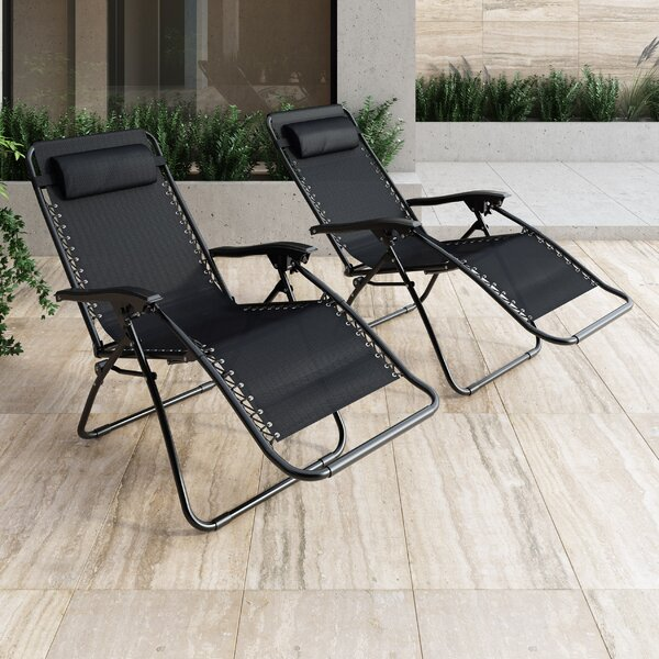 Phina Textured Zero Gravity Reclining Chaise Lounge (Set of 2) by Zipcode Design