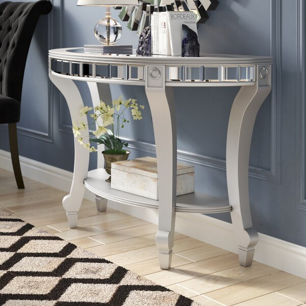 Jocelyn Mirrored Demilune Console Table by Willa Arlo Interiors