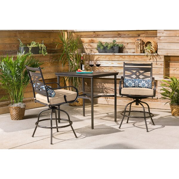 Kautz 3 Piece Bar Height Dining Set With Cushions By Alcott Hill