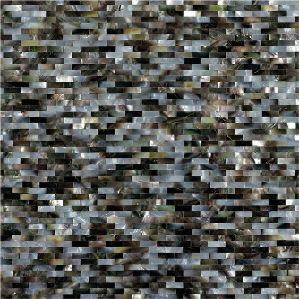 12 x 12 Authentic SeaShell Tile Seamless Brick Mosaic Panel in Gray/Black Mother of Pearl by Matrix-Z