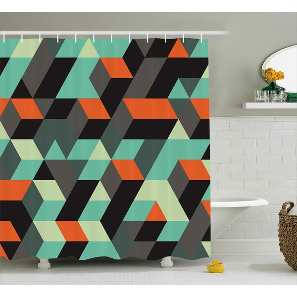 Margaret Modern Geometric Print With Squares Triangles and Shadows Zig Zag Decorative Image Shower Curtain by Ebern Designs