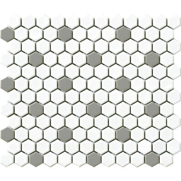 Vintage .75 x .75 Porcelain Mosaic Tile in Gray/White Hexagon by Walkon Tile