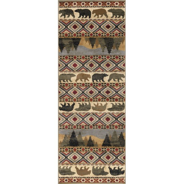 Villegas Homespun Cabin Novelty Lodge Ivory Area Rug by Millwood Pines