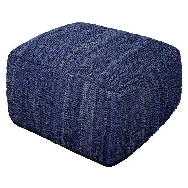 Sandford Leather Pouf By Bungalow Rose