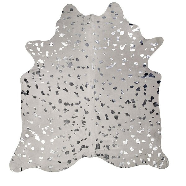 Devore Cowhide White/Silver Area Rug by Saddlemans