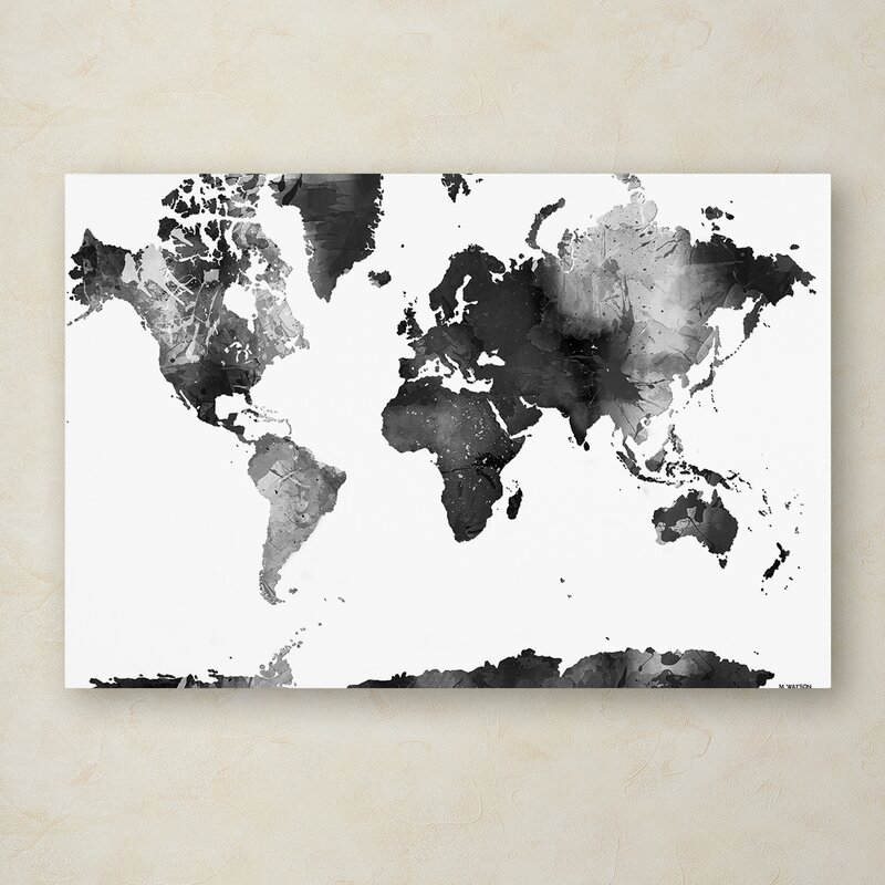 Trademark Art World Map Bg 1 Graphic Art On Wrapped Canvas Wayfair