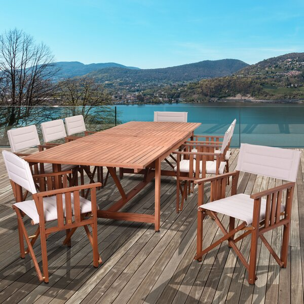 Foss Extendable Patio 9 Piece Dining Set by Beachcrest Home