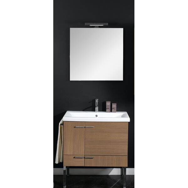 Simple 30 Single Wall Mounted Bathroom Vanity Set with Mirror by Iotti by Nameeks