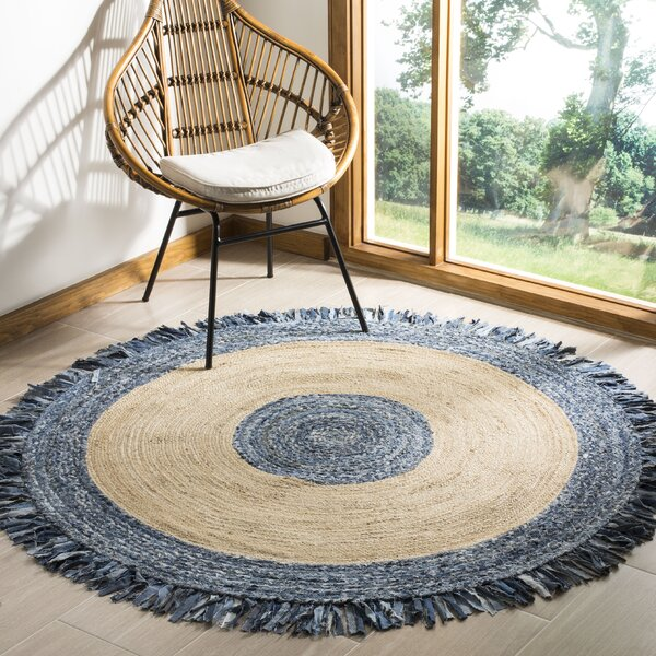 Abhay Hand Woven Jute/Sisal Ivory/Blue Area Rug by Bungalow Rose