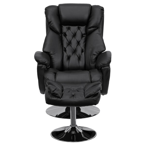 Beno Transitional Leather Swivel Recliner with Ottoman [Red Barrel Studio]