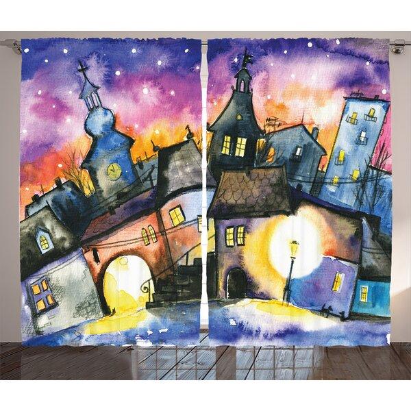 Elza Graphic Print & Text Semi-Sheer Rod Pocket Curtain Panels (Set of 2) by Latitude Run