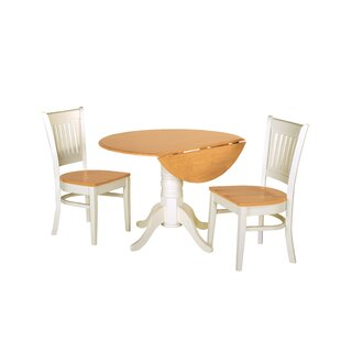 Agnese 3 Piece Drop Leaf Solid Wood Dining Set