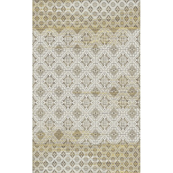 Edgao Amber/Mocha Area Rug by World Menagerie