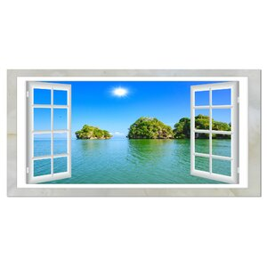 Open Window to Ocean Islets Graphic Art on Wrapped Canvas by Design Art