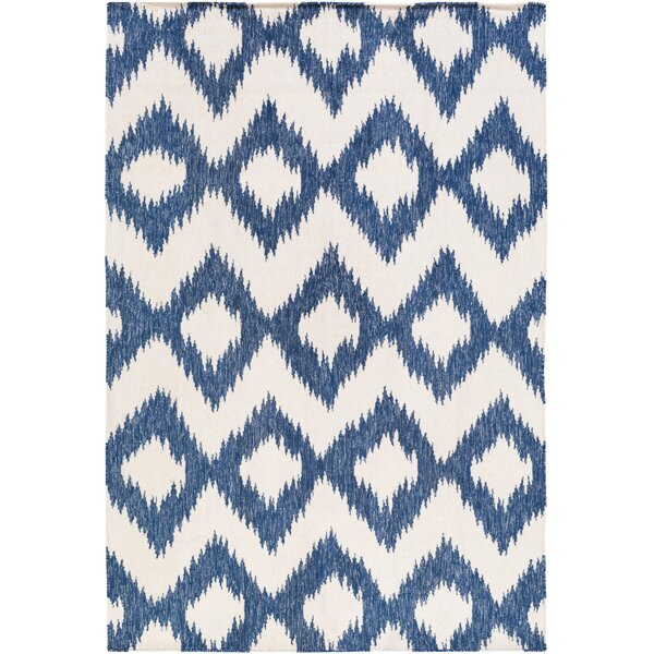 Kaylah Transitional Ikat Handwoven Blue/Ivory Area Rug by Mistana
