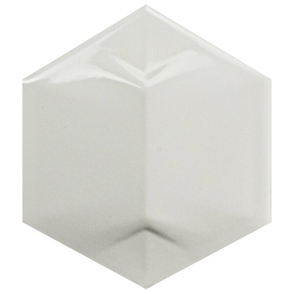 Magie 3D Star 4.25 x 4.875 Ceramic Field Tile in White by EliteTile
