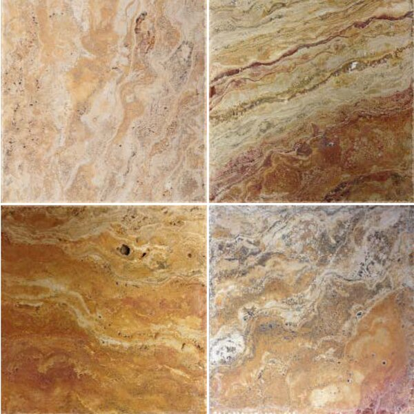 Natural Stone Scabos Banded 8 x 8 Travertine Field Tile in Scabos by Emser Tile