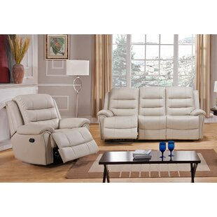 Shantell Leather Match Reclining Living Room Set by Red Barrel Studio®