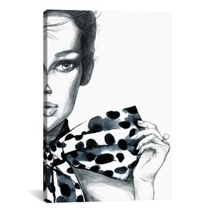 'Polka Dots Girl' Painting Print on Wrapped Canvas by East Urban Home